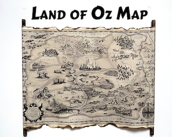 Map of the Marvelous Land of Oz, The Wonderful Wizard of Oz Map, Dorothy and the Wizard in Oz Map, Wonderful Wizard of Oz, The Land of Oz