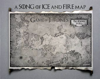 Game of thrones map westeros map poster on handmade scroll got etsy essos map and westeros map game of thrones the known world map scroll a song of ice and fire got map gumiabroncs Image collections