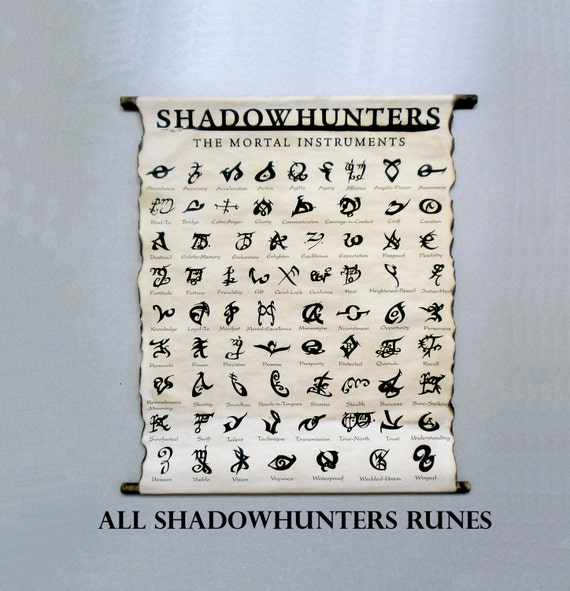 Shadowhunters All Runes The Mortal Instruments Books Runes By Cassandra Clare All Shadowhunters Runes On Handmade Scroll Poster