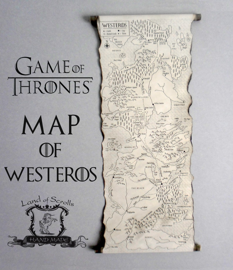 GAME of THRONES MAP Westeros Map Poster on Handmade Scroll GoT Map Game Of Thrones Map Book on wentworth prison scotland map, outlander book map, king of thrones map, world map, harry potter book map, the mysterious island book map, king of thorns map, gameof thrones map, walking dead map, under the dome book map, dothraki sea map, the game book map,