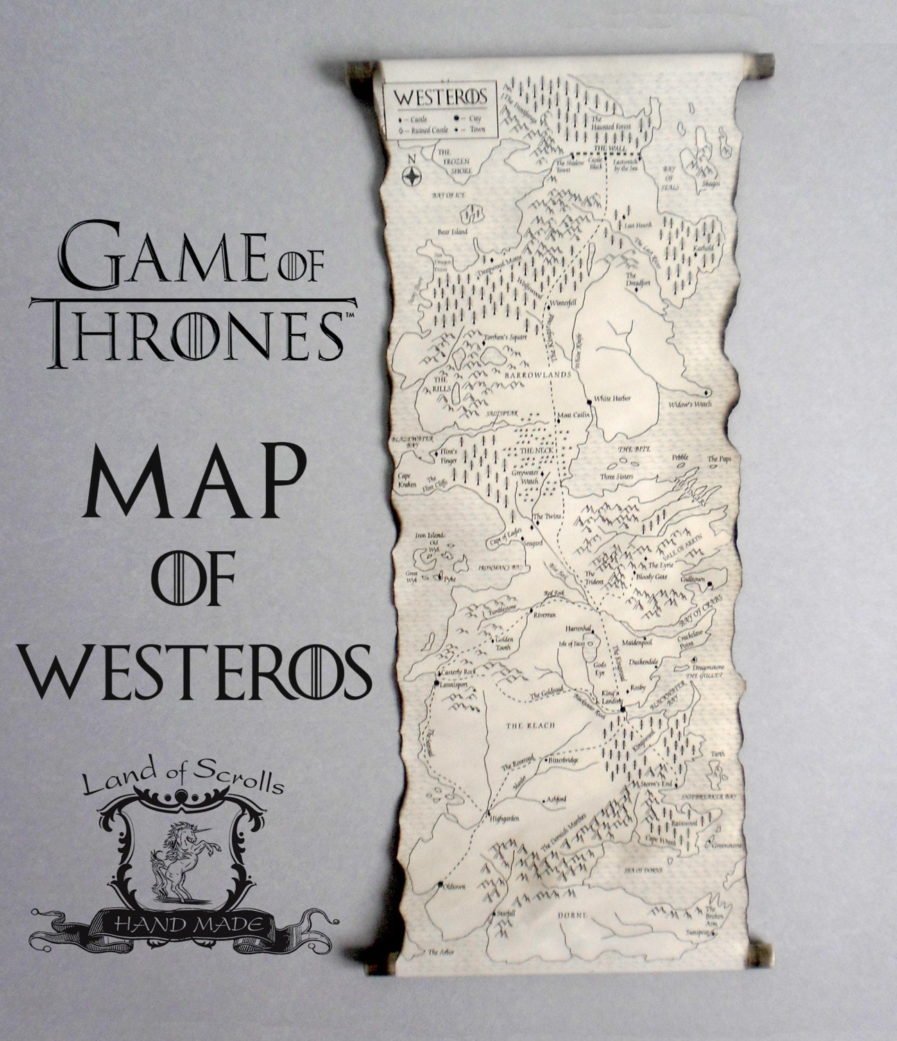 picture regarding Free Printable Map of Westeros known as Match of THRONES MAP Westeros Map Poster upon Homemade Scroll Acquired Map A Music of Ice and Fireplace Map Myth Map 7 Kingdoms Map Basic Map