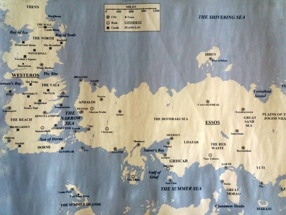 Essos Map And Westeros Map Color Scroll Game Of Thrones Map Of Essos And Map Of Westeros From Book Series A Song Of Ice And Fire Got Map