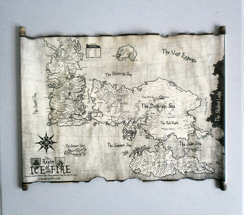 Essos Map And Westeros Map Scroll Poster Game Of Thrones Map Etsy
