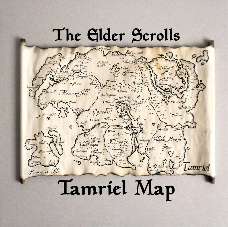 Tamriel Map Skyrim Map TES Map The Tamriel Empire Map | Etsy