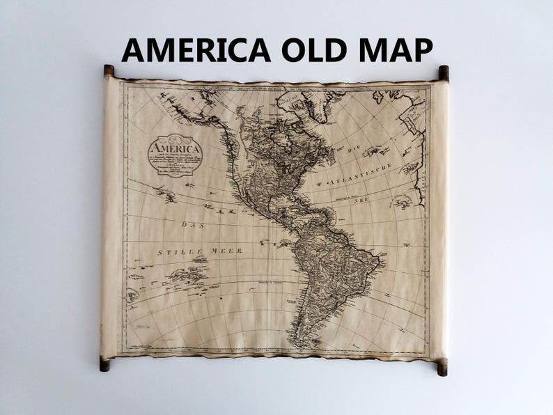 OLD MAP of AMERICA Scroll Antique Old Map of North and South America on  Handmade Scroll Industrial Vintage Old Map Retro Map