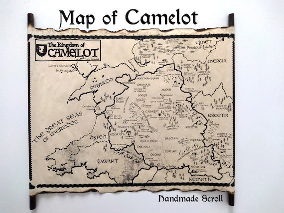 The Kingdom of Camelot Map on HANDMADE Scroll, Merlin Map, King Arthur Map,  Merlin on BBC Map of Camelot, City of Camelot Map