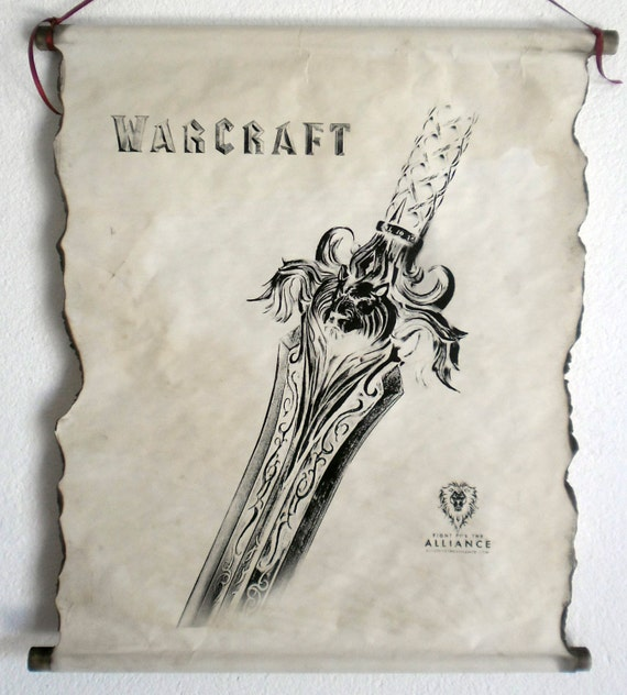 Warcraft Movie Alliance Sword Poster On Handmade Scroll World Etsy