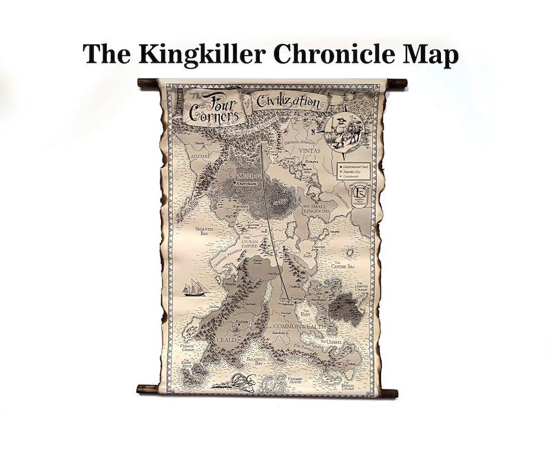 The Kingkiller Cronicle Map HANDMADE Scroll, The Four Corner of Civilization on the riyria chronicles map, unicorn chronicles luster of a map, powder mage trilogy map, terry pratchett discworld map, jim butcher codex alera map,