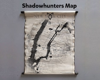 Shadowhunters New York City Map The Mortal Instruments Map NY Map The Shadowhunter Chronicles Map The Institute NYC Map Handmade Scroll