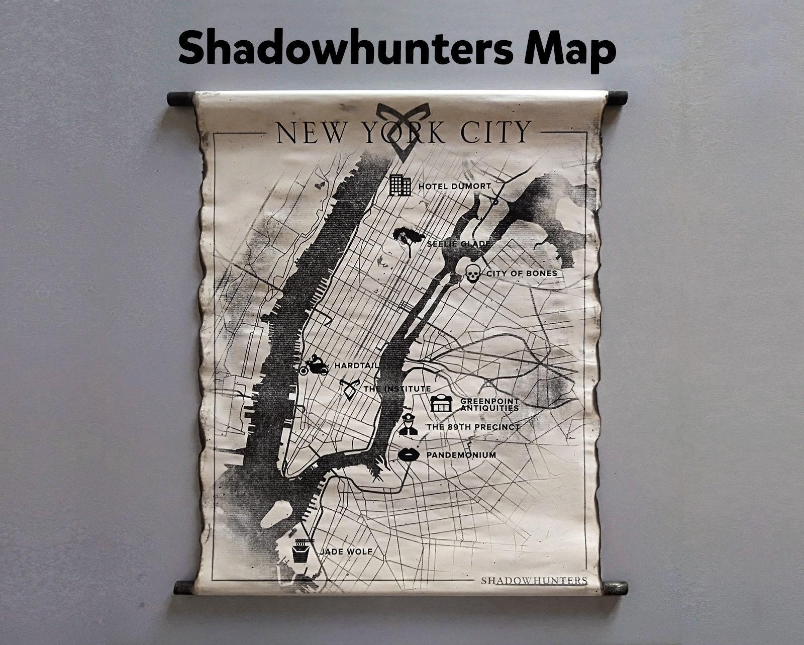 Shadowhunters New York City Map The Mortal Instruments Map Ny Etsy