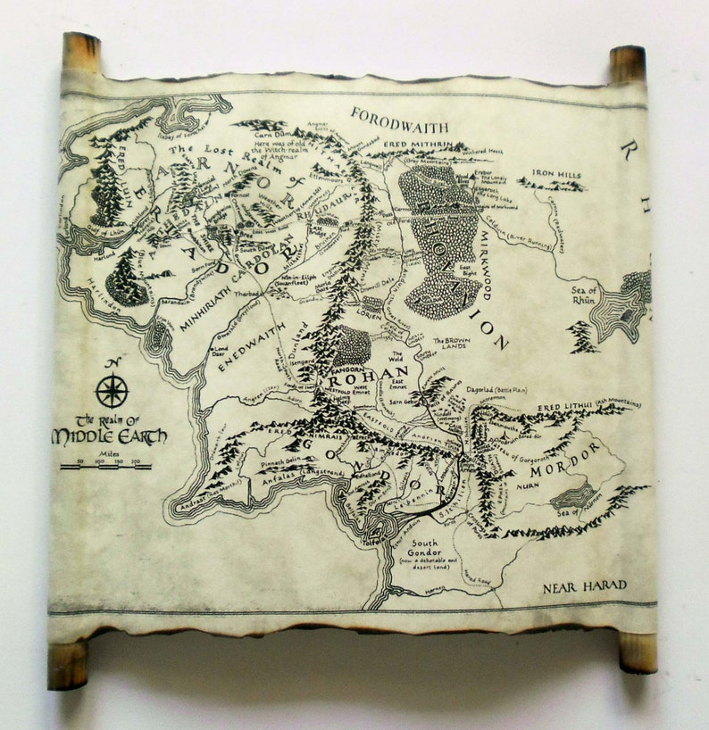 Map Of Middle Earth Scroll Lord Of The Rings Map The Hobbit | Etsy Map Of Middle Earth The Hobbit on