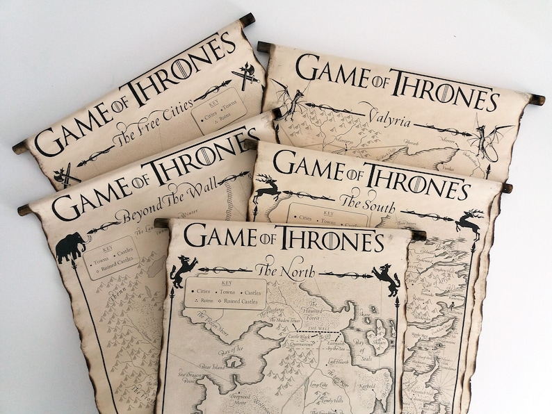 image relating to Free Printable Map of Westeros identify 5 MAP SCROLLS Video game of Thrones Posters Westeros Map The North, The South, Over and above the Wall, The Absolutely free Towns and Valyria Map Wall Artwork Bought Maps