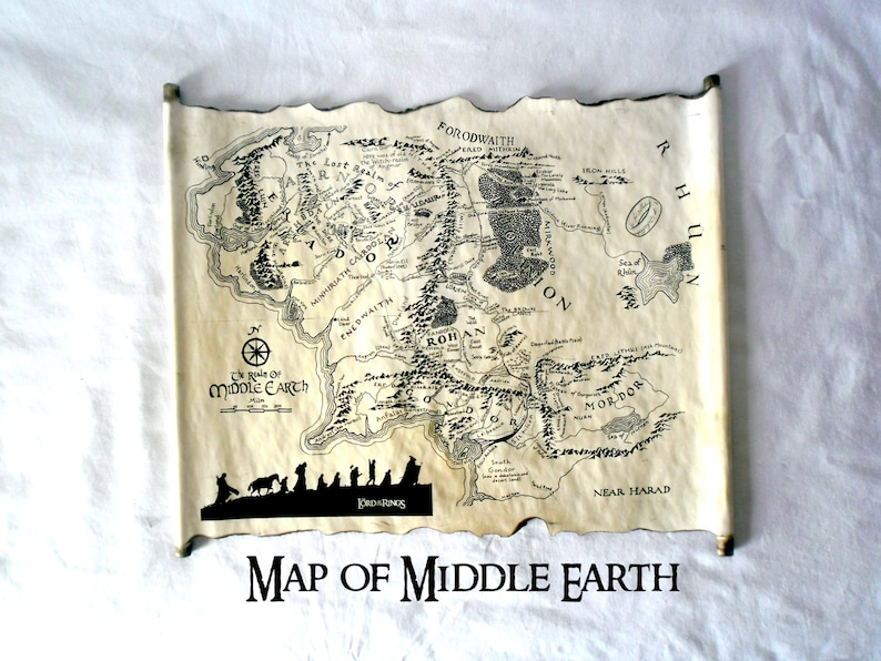 Lord Of The Rings Map Middle Earth Map The Hobbit Map on | Etsy Map Of Middle Earth The Hobbit on