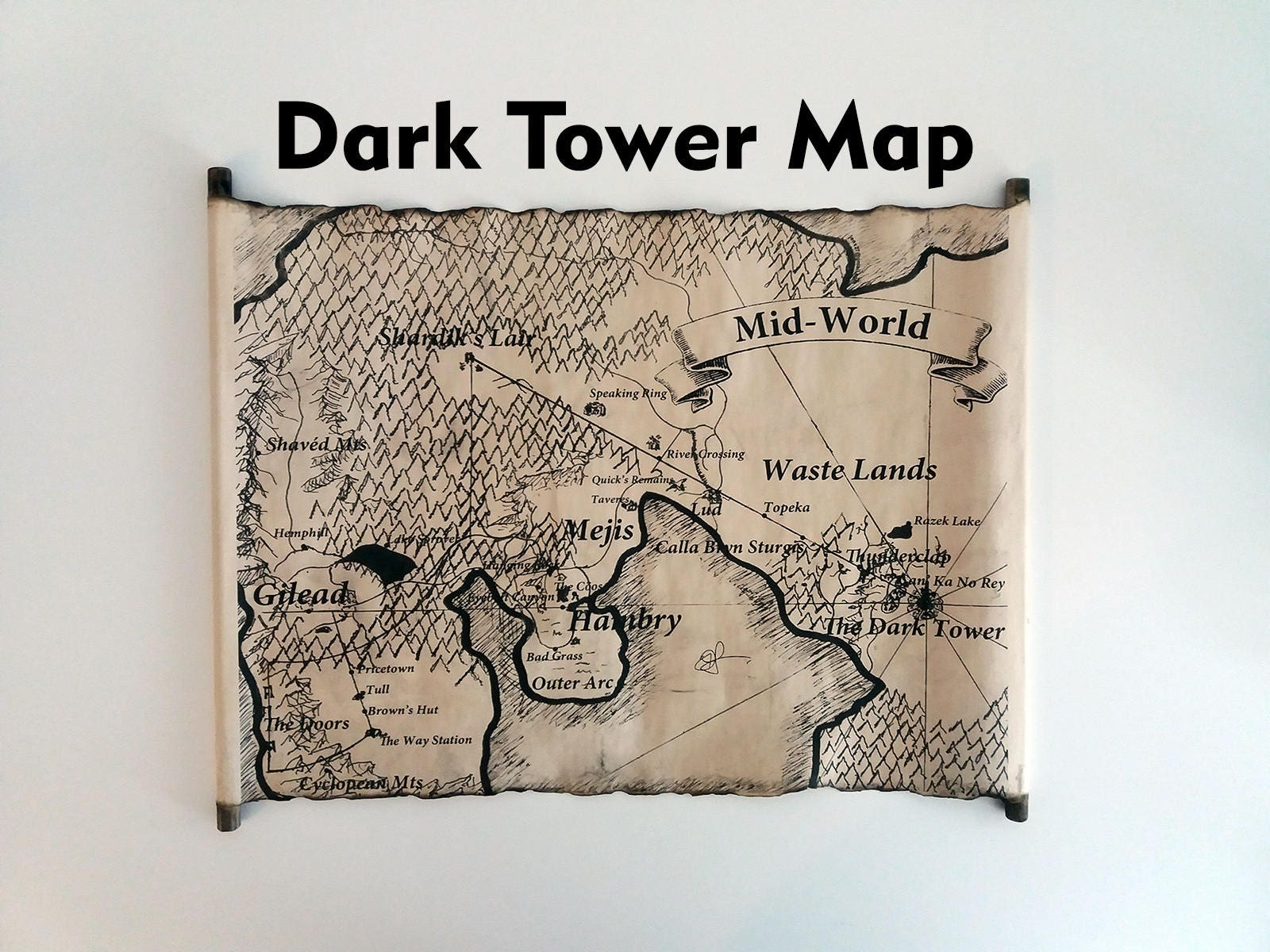 Mid World Karte The Dark Tower Map Scroll End World Map Etsy
