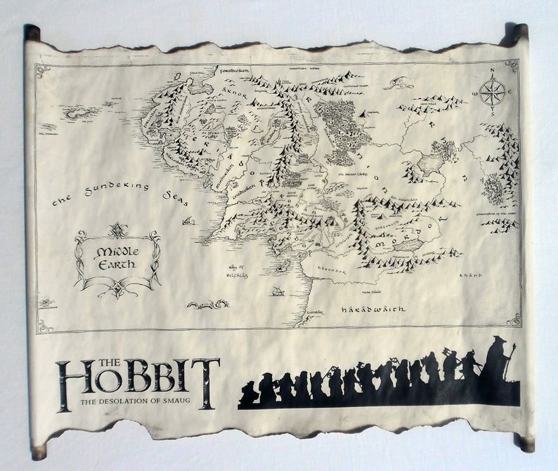 Map Of Middle Earth Scroll Lord Of The Rings Map The Hobbit | Etsy