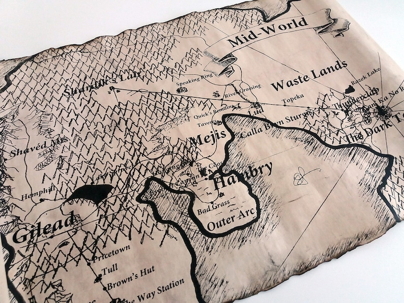 Mid-World Map The Dark Tower Map Scroll End-World Map | Etsy