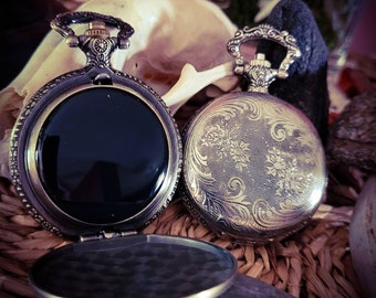 Black Scrying Mirror Etched Silver Finish