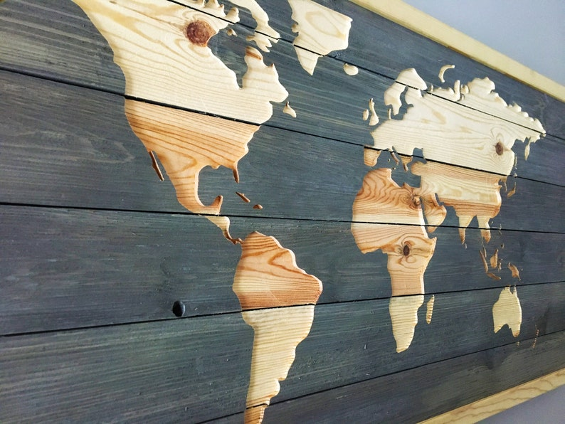 World Map Wooden Wall Art  Barn Wood Style Sign image 0