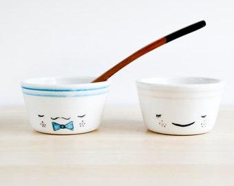 Mr and Mrs ceramic bowls set, Pottery bowls, Funny bowls, Ceramics & pottery, Kawaii ceramic, Cute ceramic bowls, Bowls with face, Cute bowl