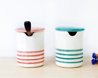 Ceramic salt and pepper cellars with lid, Ceramic sugar and salt boxes, Ceramics & pottery, Ceramic cellar, Ceramic salt cellars with spoon