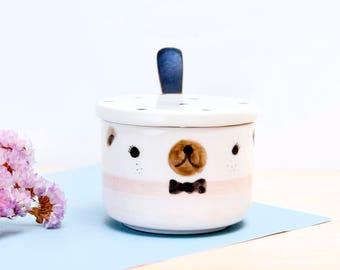 Cute bear ceramic sugar bowl with lid and spoon, Kawaii Pottery sugar bowl, Ceramics pottery, Kawaii ceramic sugar bowl, Original sugar bowl