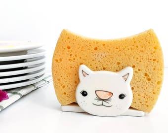 Ceramic sponge holder, Cat sponge holder, Napkin holder, Sponge dish, Ceramics & pottery, Kitchen sponge holder, Pottery sponge holder, clay