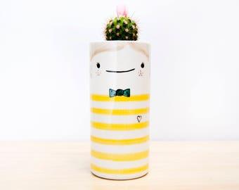 Large ceramic succulent planter with face, Ceramic planter, Ceramic vase, Ceramic plant pot, Cactus planter, Modern ceramic, Ceramic pottery