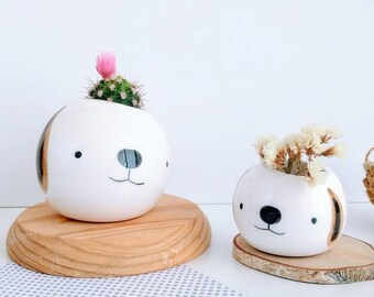 Dog ceramic plant pot made to order x 2, Face planter, Succulent planter, Ceramic animal planter, Ceramics & pottery, animal plant pot,