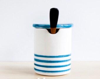 Ceramic salt cellar with lid, Ceramic sugar bowls, Pottery lidded jar, Ceramics pottery, Ceramic box, Ceramic salt cellars with spoon