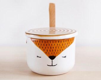 Cute arctic Fox ceramic sugar bowl with lid and spoon, Pottery sugar bowl, Ceramics & pottery, Kawaii ceramic, Cute gift, Ceramics Clay