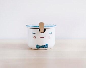 Pinocchio ceramic sugar bowl with lid and spoon - Pottery sugar bowl - Sugar set - Ceramics & pottery - Kawaii ceramic - Ceramic Clay
