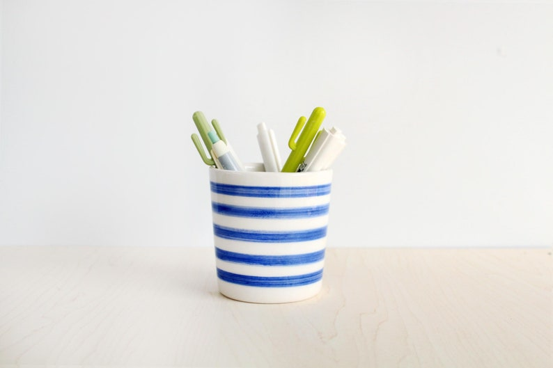 Ceramic Pencil Holder For Desk Striped Blue And White Cute Etsy