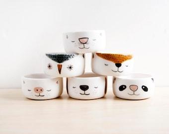 Ceramic small bowls set x 6, Small pottery bowls, Animal bowl, Mini bowl, Ceramics and pottery, Kawaii bowls set, Cute ceramic animasl bowls