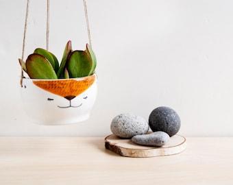 Cute fox ceramic hanging planter, Cute Plant pot, Fox Cacti planter, Animal planter, Fox plant pot, Ceramics & pottery, Kawaii ceramic