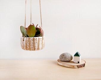 Jardinera cerámica colgante para colgar pequeña cerámica suculenta, plantas pot, cerámica y alfarería, Jardinera colgante de cerámica, maceta de cactus, arcilla