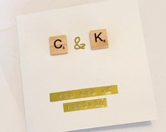 Personalised Scrabble Greetings Card - Valentine's Day, Valentine, Him / Her / Wife / Husband / Girlfriend / Boyfriend - Handmade, Initial,