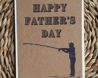 Father's Day #4 Handmade Greeting Card Fishing silhouette brown kraft