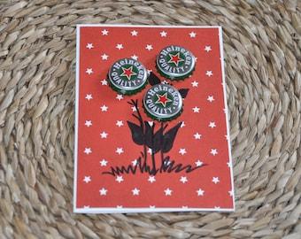 Bottle caps #2 Handmade Greeting Card Heineken bottle caps kapsel red green stars