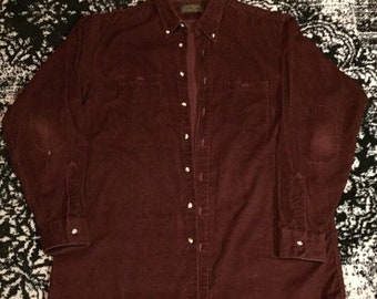 6beee844011 Burgundy Corduroy Eddie Bauer Button Up Jacket Shirt