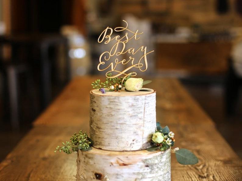 Wedding Cake Topper / Best Day Ever Wood Wedding Cake Topper / image 0