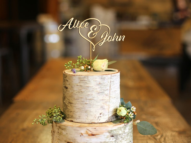 First Names Wood Cake Topper  Wedding Cake Topper image 0