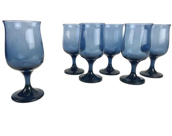 Sapphire Glass Goblets, S/6
