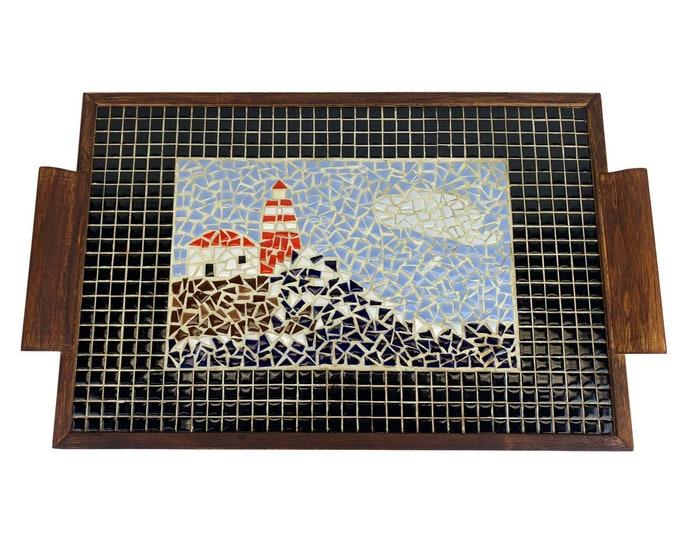 Hand-Made Mosaic Lighthouse Traytray