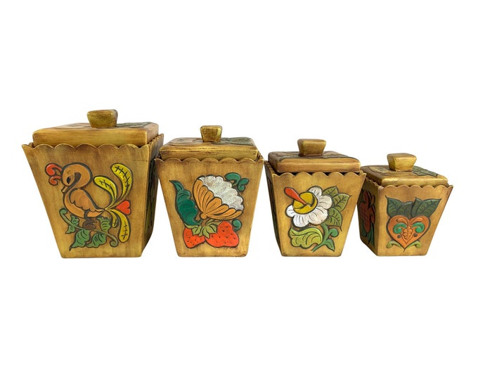 1970s Hand-Made Ceramic Canisters, S/4