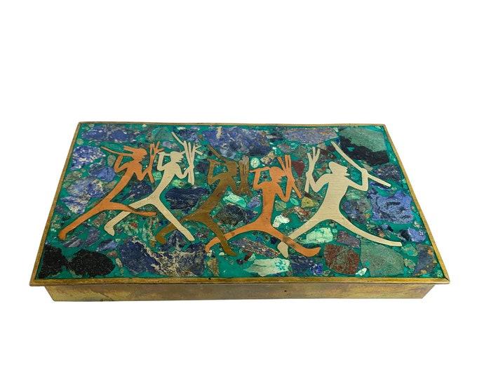 Mid-Century Modern Brass & Gemstone Box