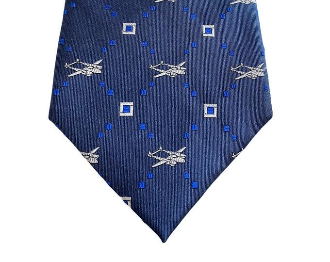 Vintage Airplane/Pilot Necktie by Doppeldecker - 100% Silk