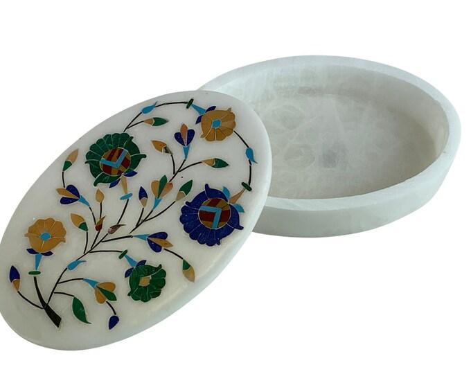 Alabaster, Malachite & Gemstone Box