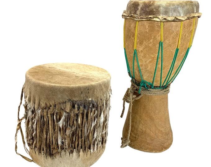 Carved Wood Tribal Drums, Pair