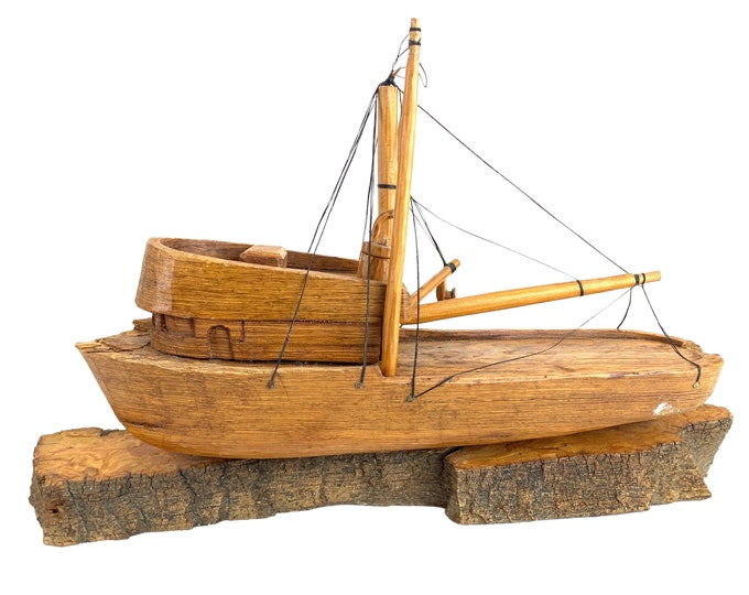 Hand Carved Fishing/Crabbing Vessel
