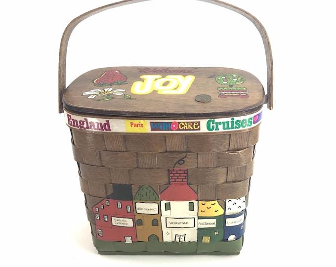 1970s Picnic Basket Handbag/Purse by Caro Nan